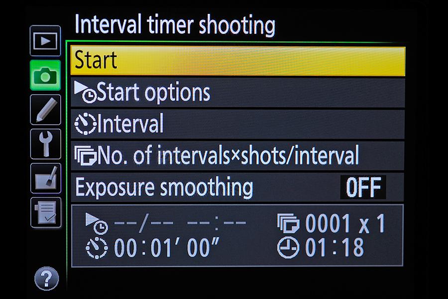 how to set interval shooting nikon d810