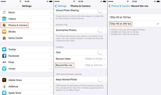 iPhone Slo-Mo Setting